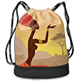 OKIJH Mochila Mochila de ocio Mochila con cordón Mochila multifuncional Bolsa de gimnasio African Woman Men And Women General Backpack Multifunctional Bundle Backpack Fashion Travel Backpack Drawstrin