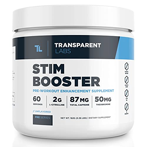 Transparent Labs Stimulant Booster Pre Workout, No Tingling, Contains Anhydrous Caffeine, L-Citrulline, and Theobromine, Gluten-Free, Non-GMO, No Sweeteners, Unflavored - 60 Servings