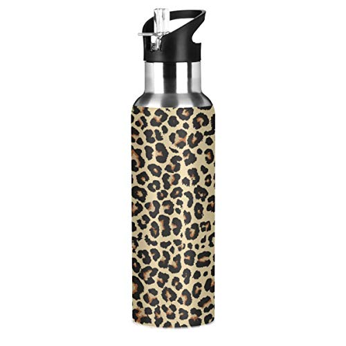 Cheetah Leopard Flask Sports Water Bottle - 20oz Vacuum Insulated Stainless Steel, Hot Cold, Modern Double Walled, Simple Thermo Mug(aa)