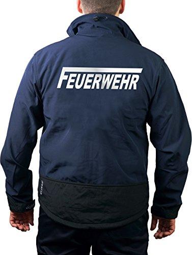 feuer1 WorkSoftshelljacke Navy, Feuerwehr mit langem F Silber-reflektierend