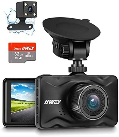 Dash Cam Front and Rear 32GB TF Card Included IIWEY 1080P Dash Camera for Car Aluminum Alloy product image