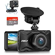 Dash Cam Front and Rear SD Card Included, IIWEY 1080P FHD Dual Car Camera with 3 Inch HD Screen 170° Wide Angle Dashboard Camera for Vehicle 24H Parking Monitor, Loop Recording, Motion Detection, HDR