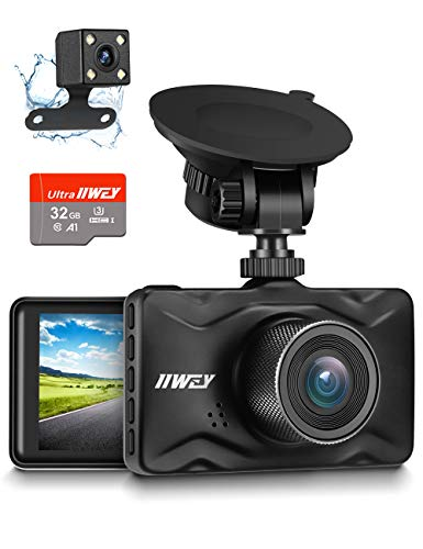 Dash Cam Front and Rear, 32GB TF Card Included IIWEY 1080P Dash Camera for Car Aluminum Alloy Body 3 Inch LCD Screen 170° Wide Angle Dashboard Camera with Night Vision Parking Monitor Motion Detection