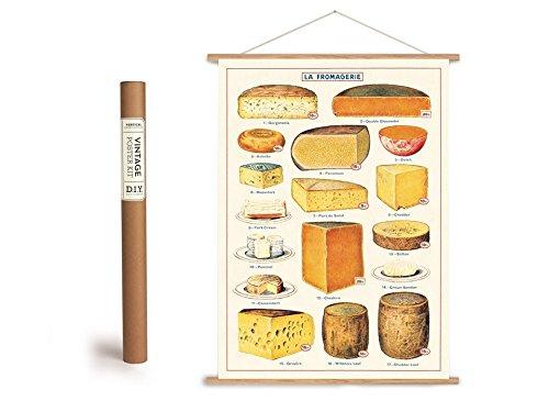Cavallini Vintage Poster Set mit Holzleisten (Rahmen) und Schnur zum Aufhängen, Motiv Fromage, Käse