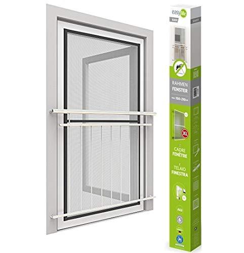 Easy Life Mosquitera para ventana easyline, con marco de aluminio, ventana para insectos sin agujeros y tornillos, color: antracita, tamaño: 150 x 210 cm