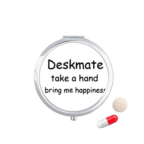 DIYthinker Deskmate Take A Hand Bring Me Happiness Travel Pocket Pill case Medicine Drug Storage Box Dispenser Mirror Gift