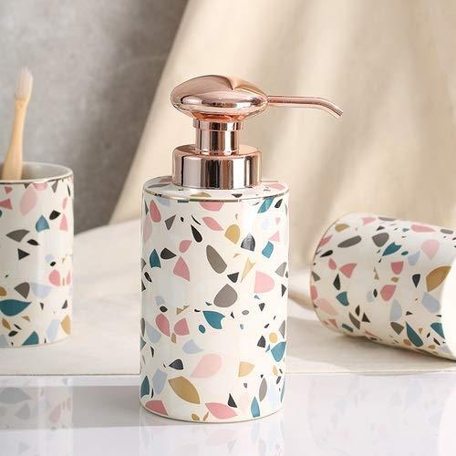 Neaer Juego de 4 piezas para cepillos de dientes, diseño creativo, taza de cepillo de dientes, dispensador de jabón, jabón para parejas, taza de enjuague bucal de cerámica (color: soa pdispenser)
