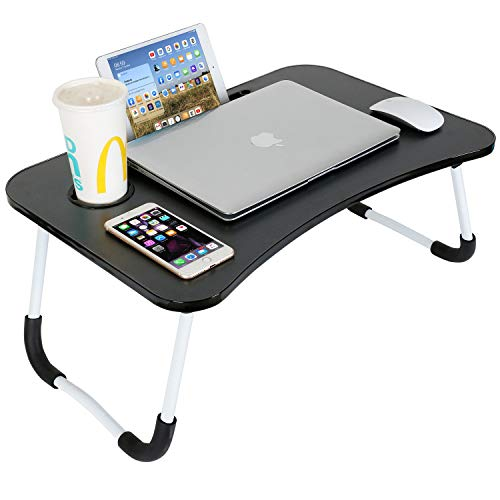 Averrex Laptop Desk, Portable Laptop Bed Tray Table with Cup Holder and Tablet Slot, Lap Stand Dorm Desk for Bed Sofa Couch (Black)