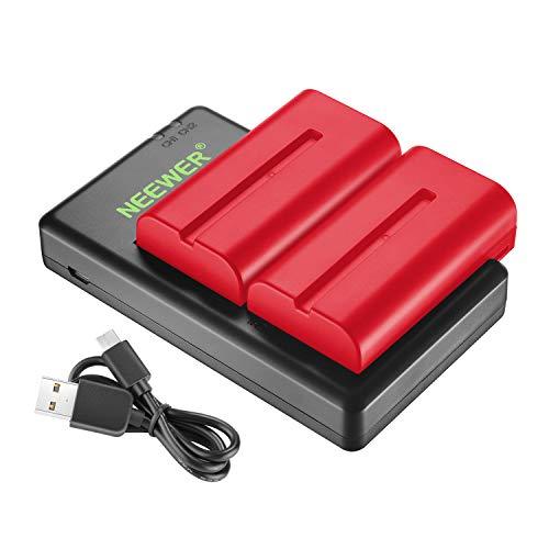 Neewer Doppio Caricatore con 2 Batterie 2600mAh di Ricambio per Sony NPF550/570/530 Compatibile Con Fotocamera Sony Originale delle serie Monitor Neewer 759 74K 760 Feelworld 759 74K 760 (Rosso)