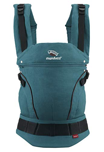 manduca First Baby Carrier > HempCotton Petrol-Brown < Porte Bebe Ergonomique avec Ceinture Ventrale & Rallonge Dorsale, en Chanvre & Coton Biologique, à Porter Avant, Siège de Hanche, Sac a Dos