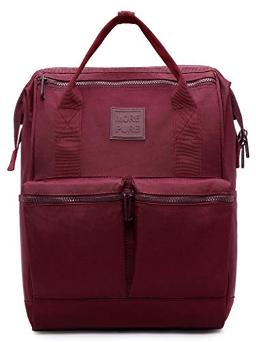 """HotStyle DISA 14"""" Doctor Bag Style Backpack for Women, Compact Book Bag Cute for College, Work and Travel, Maroon"""