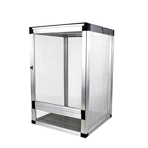 Vivarium - Caja de depósito de aleación de aluminio para reptiles, anfibios, caja de serpiente, caja de cría de relojes, caja de mascotas, casa de mascotas (tamaño: 45 x 45 x 80 cm), 43*43*66CM