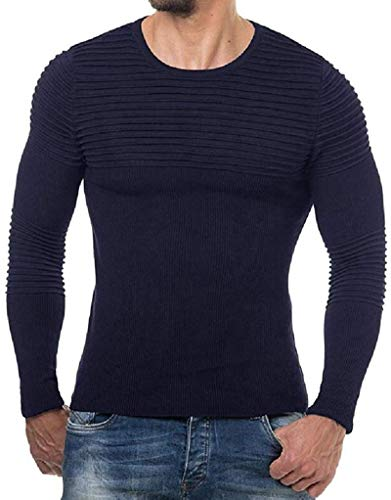 BKWL Mens Fall Winter Crew Neck Solid Ruched Knit Pullover Sweaters,Navy Blue,Medium