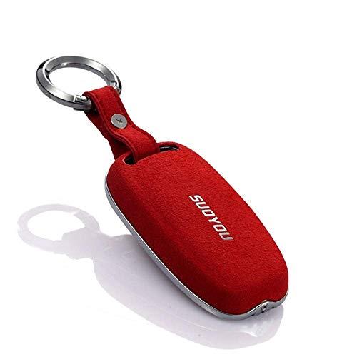 HUAQIANYU Car Accessories Key Shells,Car Key Cover Case Keychain ,Leather Zinc Alloy Car Key Protector Cover For Audi A1 A3 A4 A5 A6 A7 A8 S4 S5 B9 Q7 Q5 Tt Q3,B,RedC-Red
