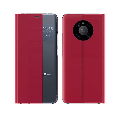 Hauw Hülle für Huawei Mate 40 Pro,Seitenfenster Ledertasche mit Halterungsfunktion für Huawei Mate 40 Pro,Rot