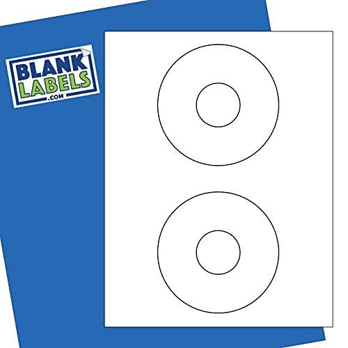 """Blank Labels CD/DVD Labels from 5824 Template Compatible - Permanent White Matte - Inkjet and Laser Guaranteed - Easy to Peel - Made in USA - 4.5"""" Diameter - 500 Sheets - 1000 Disc Labels"""
