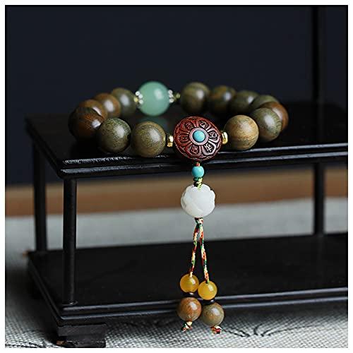 DONGYUCHUN Cuentas De Meditación De Sándalo Verde Fragantes Naturales De 12 Mm - Budismo Tibetano Accesorios De Perlas De Oración Wenwan