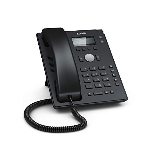 Snom D120 IP Telefon, SIP Tischtelefon, 2 SIP-Identitäten, PoE, Grafisches Display mit Hintergrundbeleuchtung, 360°-Benachrichtigungsanzeige, 5 vorbelegte Funktionstasten, Schwarz, 00004361