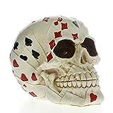 EZQYC Cráneo Decoracion Poker Face Tattoo Skull Gambling Skeleton Ace Cards Halloween Horror Decoración Skull Gambler Playing Cards Figurine Statue