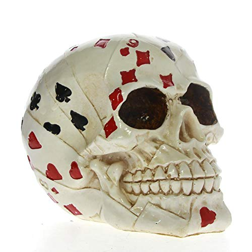 EZQYC Cráneo Decoracion Poker Face Tattoo Skull Gambling Skeleton Ace Cards Halloween Horror Decoración Skull Gambler Playing Cards Figurine Statue