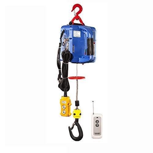 Torno Eléctrico Portátil Polipasto de Elevación de Elevación Eléctrico Polipasto Eléctrico Molinete Control Manual/Control de Cable/Control Remoto (500KG)