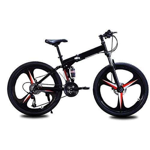 WLGQ Bicicleta de Carretera, Bicicleta Plegable con Freno de Disco Doble de 24/26 Pulgadas, Bicicleta de 21 velocidades con suspensión Completa, con Marco de Acero al Carbono con Freno de Disco d