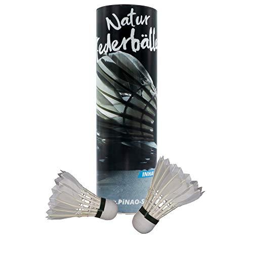 PiNAO Sports - Badmintonbälle aus Federn (42302) [6 Stück, Federball, Federbälle, Entenfedern, Echtfeder, Naturfederball]