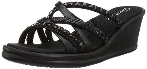 Skechers Women's Rumblers-Glass Flowers-Rhinestone Multi-Strap Slide Sandal Wedge, Black/Black, 8 M US