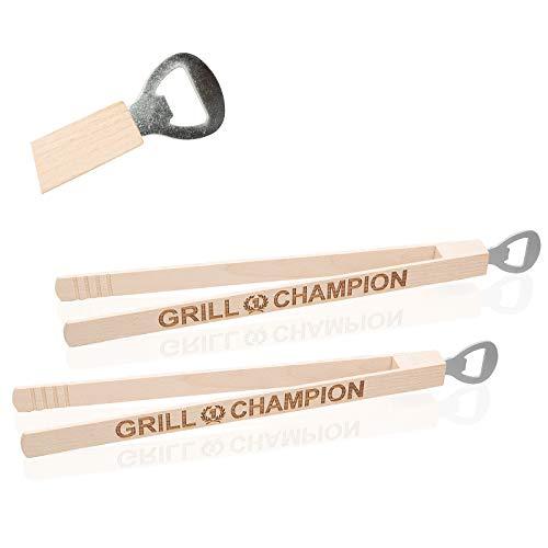 Smart Planet Set di 2 pinze per barbecue con apribottiglie e incisione, 2 pezzi di pinze in legno, accessori per barbecue in legno