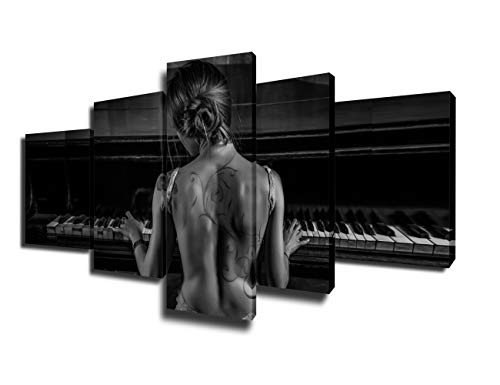 Black and White Pictures for Bedroom Elegant Woman Playing Piano Paintings on Canvas 5 Piece Wall Art Modern Artwork Home Decor for Living Room Framed Gallery-wrapped Ready to Hang(50''Wx24''H)