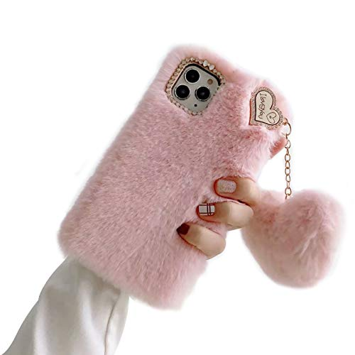 Shinyzone Compatible with Samsung Galaxy A12 Case with Plush Ball,Fuzzy Fluffy Soft Warm Love Hairball Pendant Faux Rabbit Fur Case TPU Back Cover with Chic Bow-Knot,Pink