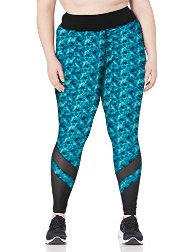 JUST MY SIZE Women's Plus Size Active Mesh Pieced Run Legging, Upbeat Teal Triangle Planes, 1X