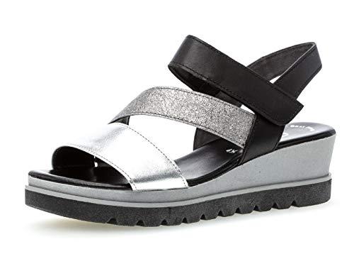 Gabor 23.641 Damen Sandalen,Keilsandalen, Frauen,Keilabsatz-Sandaletten,Keilsandaletten,Sommerschuh,flach,Best Fitting,Silber/Stone/schw,5 UK