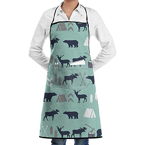 Wthesunshin Gris Menta Oso Azul Marino Moose Forest Arrow Delantal de Chef Delantales Divertidos de Alta Resistencia para Asar, Asar, Hornear o cocinar