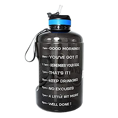 BuildLife Gallon Motivational Water Bottle with Time Marked to Drink More Daily and Nozzle,BPA Free Reusable Gym Sports Outdoor Large(128OZ) Capacity (Black, 1 Gallon)