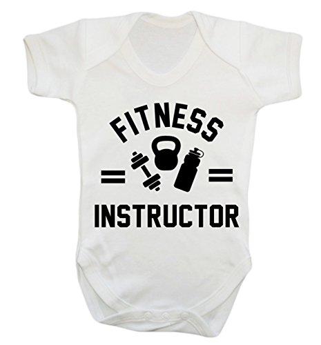 """Baby-Strampler mit der Aufschrift """"Fitness Instructor"""" Gr. S , weiß"""