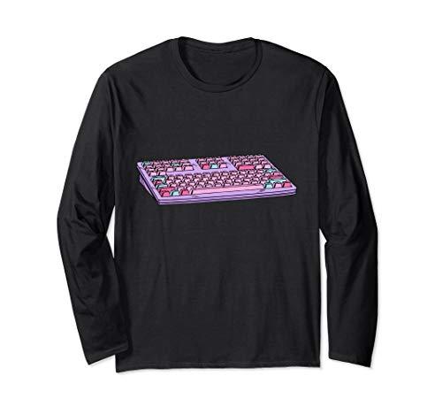 Computer Keyboard Vaporwave Aesthetic Retro 80s 90s Langarmshirt