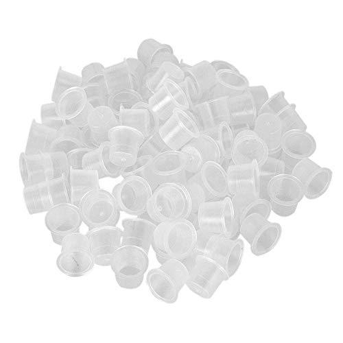 Zengkei Tatouage Encre Capuchons Tasses, Plastique Jetable Titulaires Récipient Microblading Maquillage Pigment avec Base Blanc pour Fournitures, 1000 Pièces - Large