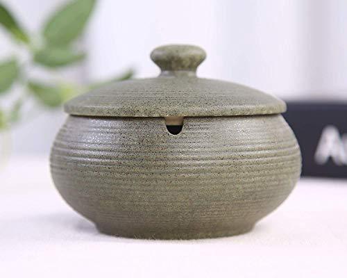 Posacenere in Ceramica con Coperchio, posacenere Interno o Esterno Antivento, posacenere da Tavolo-Verde Scuro