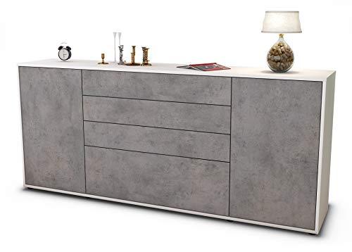 Stil.Zeit Sideboard Eleni/Korpus Weiss matt/Front Beton Optik (180x79x35cm) Push-to-Open Technik & Leichtlaufschienen