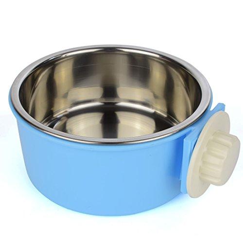 GreeSuit Animale Ciotole Domestico Appeso Gabbia Estraibile in Acciaio Inox Alimentare Acqua Blu Ciotole per Cani Gatti Roditori