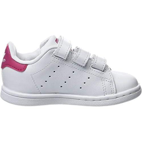 adidas Stan Smith CF I, Scarpe da Ginnastica Basse Unisex-Bimbi, Bianco (Footwear White/Footwear White/Bold Pink 0), 23 EU