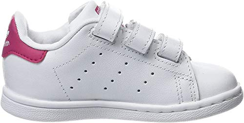 adidas Unisex Baby Stan Smith Gymnastikschuhe, Elfenbein (Ftwwht/ftwwht/bopink Bz0523), 24 EU