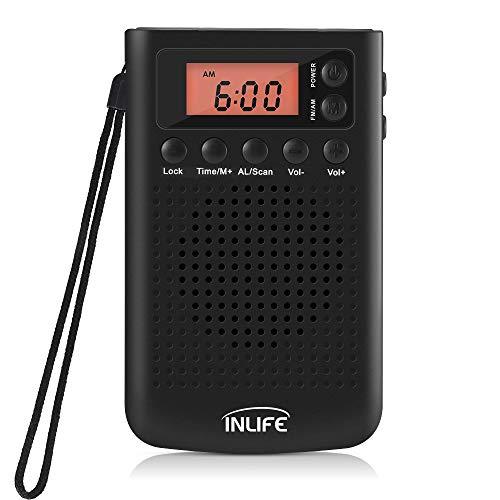 InLife Digitale pocketradio, draagbare radio, draagbare radio, met digitale wekker, zenderopslagfunctie, hoofdtelefoonaansluiting, werkt op batterijen