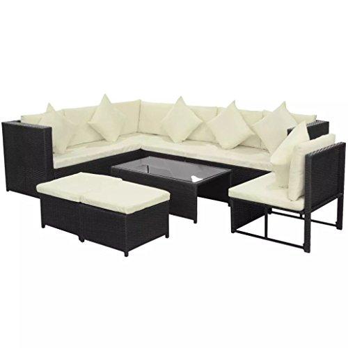 lingjiushopping Ensemble canapés de jardin 29 pièces en polyrotin modulaire Noir Couleur Coussin : beige lot de meubles d'extérieur