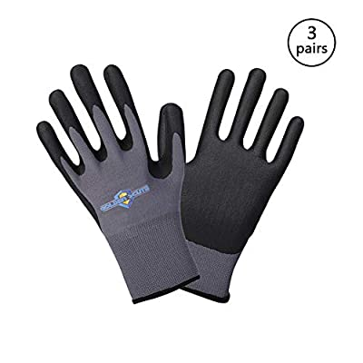 Golden Scute Micro-Foamed/Ultra-Thin Nitrile Coated Work Glove, Touchscreen Technology, Safety Gloves Landscaping, Material Handling, Gardening, Assembly
