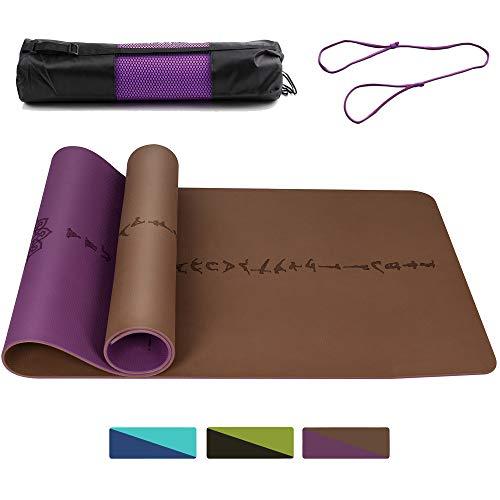 DAWAY rutschfeste TPE Yoga Matte - Y9 Breite Dicke Yogamatte, Umweltfreundliche Pilates Matten, Doppelseitiges Körperausrichtungssystem, Reißfest, mit Trageriemen, 183 x 66 x 0,6 cm, 1 Jahr Garantie