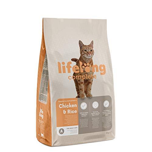 Marca Amazon - Lifelong Complete- Alimento seco completo para gatos adultos rico en pollo y arroz, 3 x 3 kg ⭐