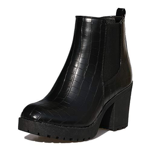 Botas de tacón grueso para mujer, con plataforma y cremallera y tacón alto, (Cocodrilo negro), 43 EU