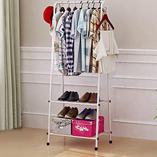 Quieting Clothes Rail Rack Garment Dress Hanging Coat Hat Display Stand Shoe Rack Storage Shelf White